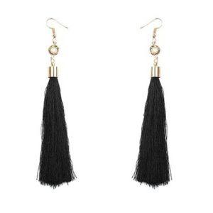 Boho Festival Long Tassel Dangle Earrings Black